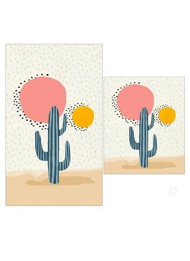 Bayev 2'Li Tasarım Motto Serisi Banyo Paspası Klozet Takımı - Motto Çöl Kaktüs 2190 Renkli